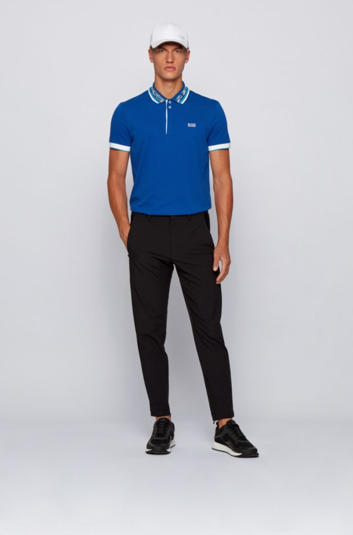 Cotton-piqué polo shirt with space-dye collar