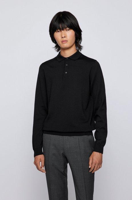 Polo-collar sweater in Italian wool, Black
