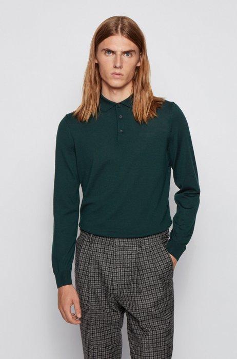 Polo-collar sweater in Italian wool, Light Green