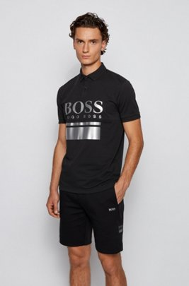 Cotton-blend polo shirt with large-scale logo print, Black
