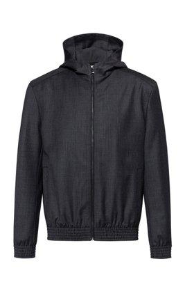 Hooded jacket in virgin wool with pepita pattern, Dark Grey