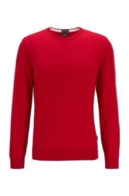 Crew-neck sweater in Italian virgin wool, Red