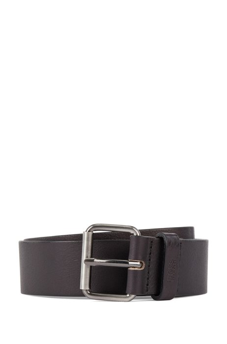 Tanned-leather belt with gunmetal roller buckle, Black