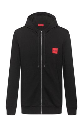 Zip-through hoodie in French terry with logo label, Black