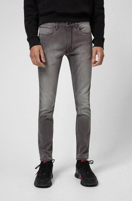 Extra-slim-fit jeans in mid-gray stretch denim, Grey