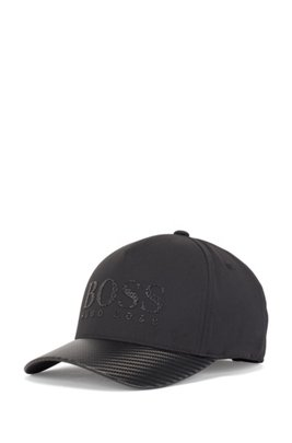 Logo-print technical-fabric cap with carbon effect, Black