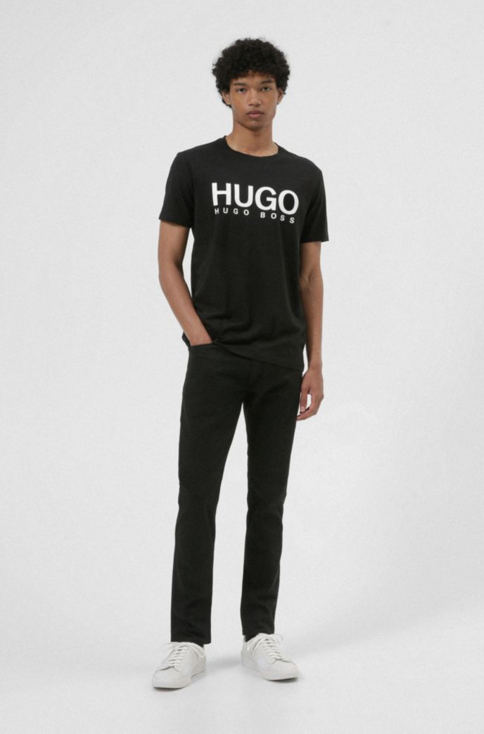 Extra-slim-fit jeans in rinse-washed black stretch denim