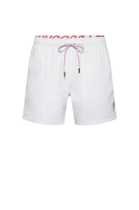 Unisex quick-drying swim shorts with exposed logo waistband, White