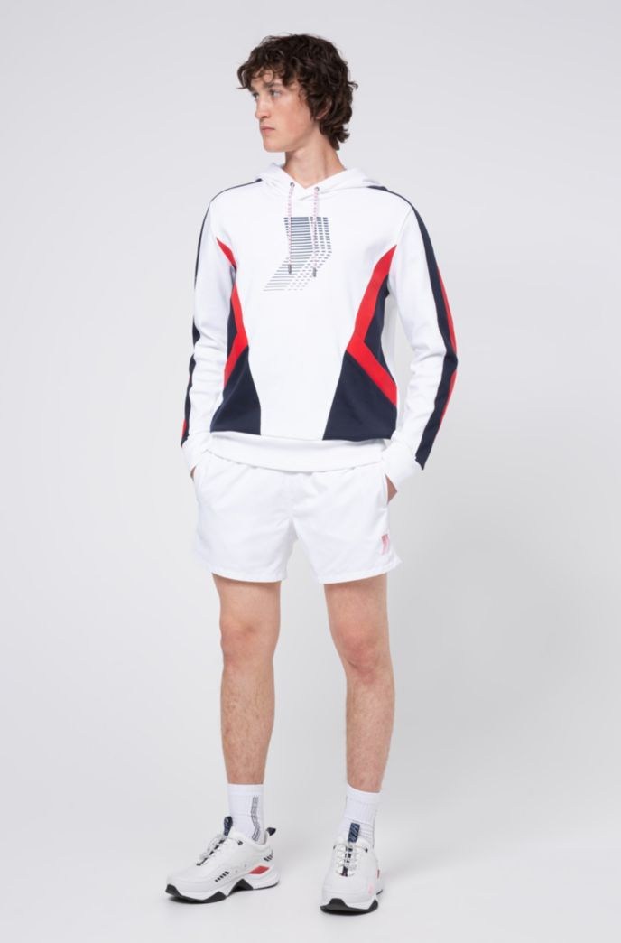Unisex quick-drying swim shorts with exposed logo waistband
