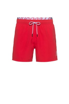 Unisex quick-drying swim shorts with exposed logo waistband, light pink