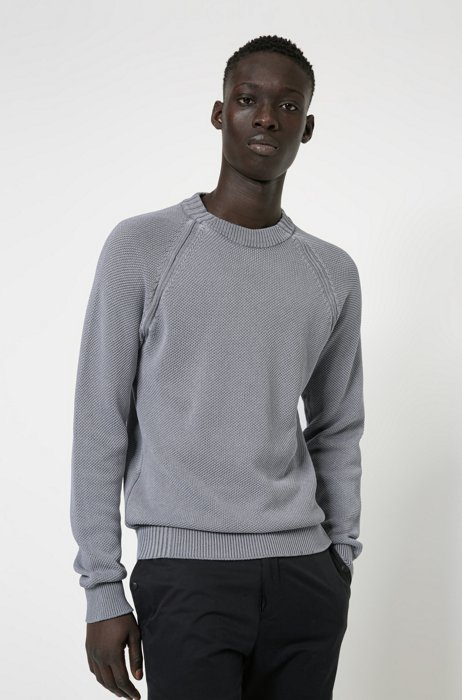 Relaxed-fit knitted sweater in organic cotton, Silver
