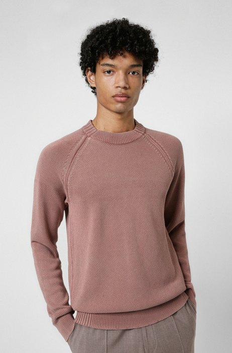 Relaxed-fit knitted sweater in organic cotton, Light Brown