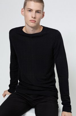 Relaxed-fit sweater with new-season check, Dark Blue