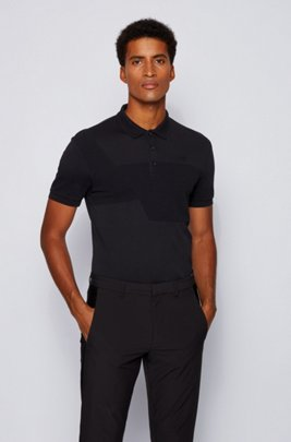 Cotton polo shirt with ottoman-structured panels, Black