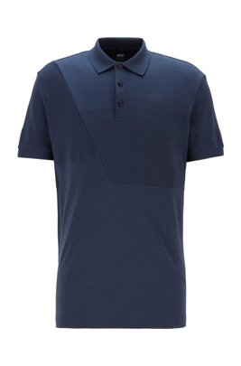 Cotton polo shirt with ottoman-structured panels, Dark Blue