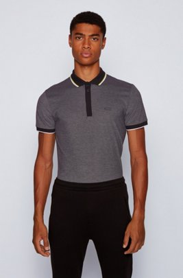 Cotton-piqué polo shirt with tipping stripes, Black