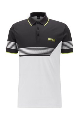 Slim-fit color-blocked polo shirt with printed stripes, White