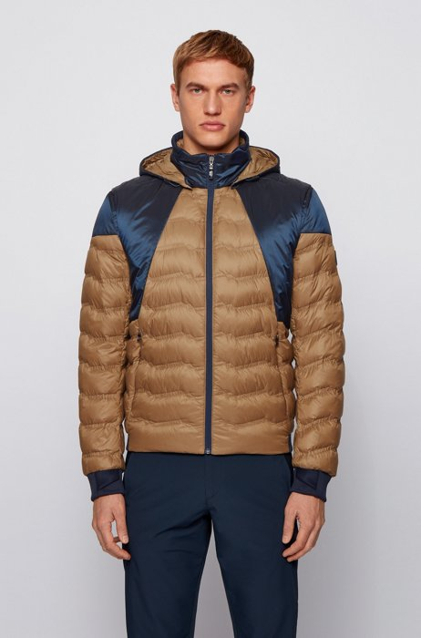 Color-block down jacket with detachable sleeves and hood, Khaki