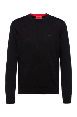 Crew-neck sweater in pure cotton with tonal logo, Black
