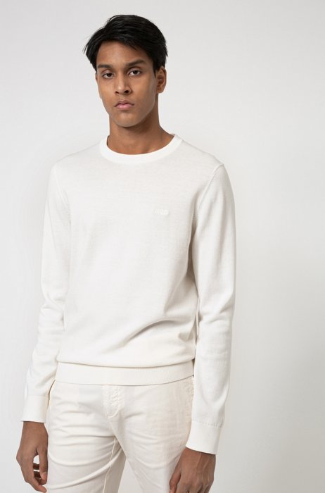 Crew-neck sweater in pure cotton with tonal logo, White