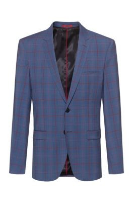 Extra-slim-fit jacket in a virgin-wool blend, Turquoise