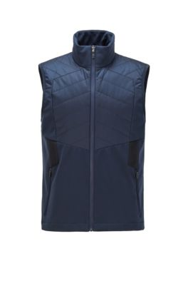Water-repellent gilet with padding and reflective details, Dark Blue