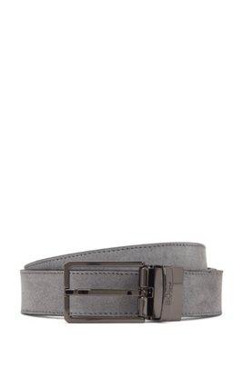 Reversible belt in Italian leather, Dark Grey