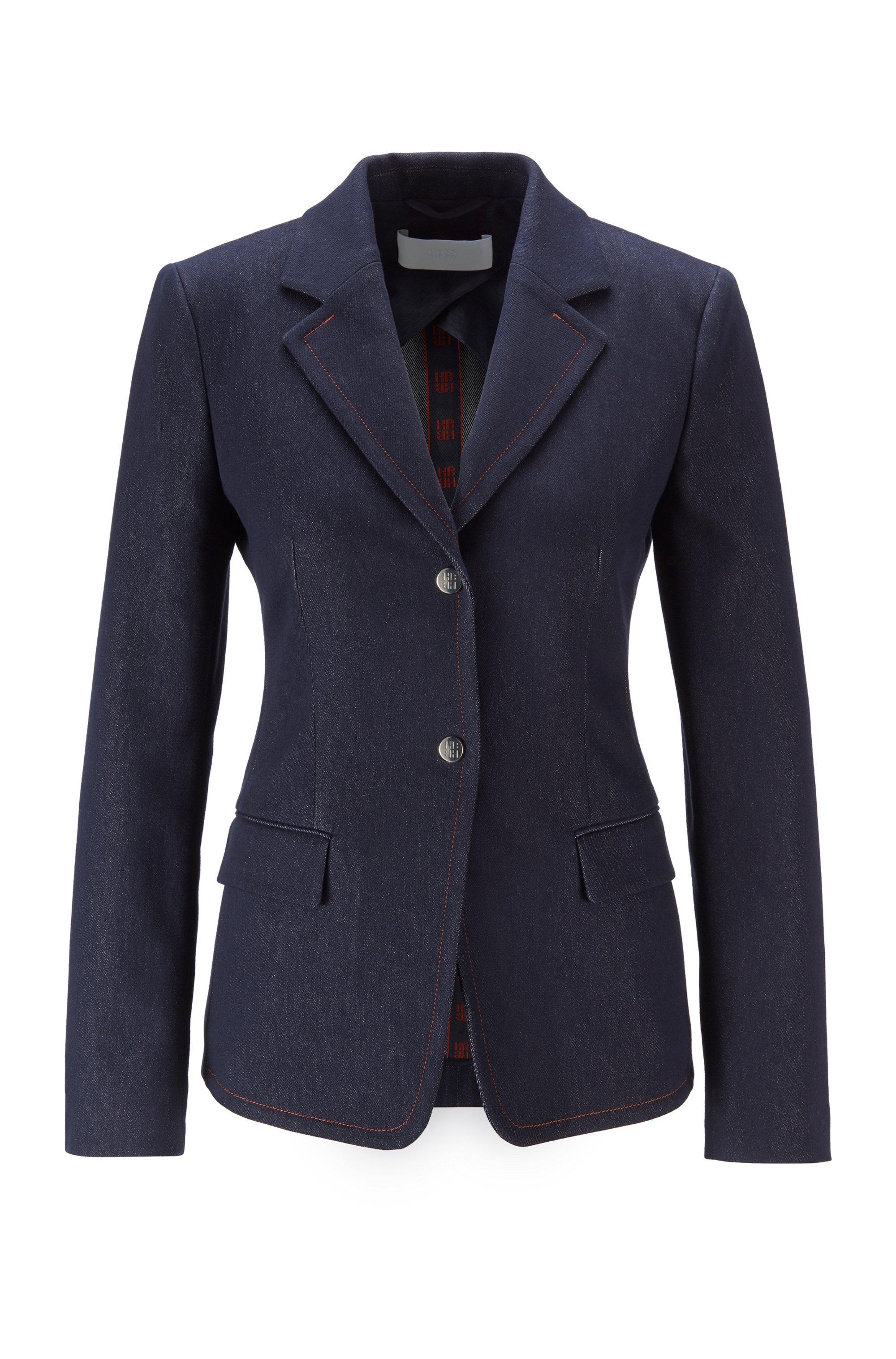 Stretch-denim jacket with notch lapels and flap pockets, Dark Blue