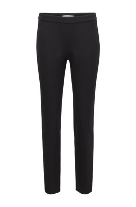 Slim-leg pants in stretch jersey with houndstooth pattern, Black
