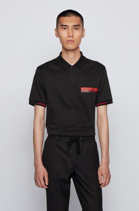 Slim-fit polo shirt in mercerized cotton, Black