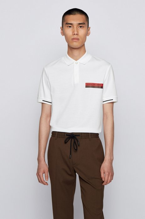 Slim-fit polo shirt in mercerized cotton, White