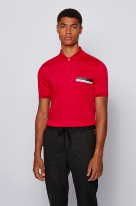 Slim-fit polo shirt in mercerized cotton, Light Red