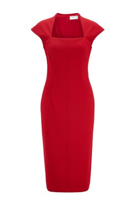Cap-sleeve dress in stretch jersey with houndstooth pattern, Red