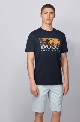Fully recyclable T-shirt with two-tone logo print, Dark Blue