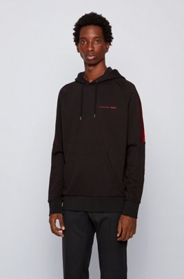 Hooded sweatshirt in mercerized cotton terry, Black