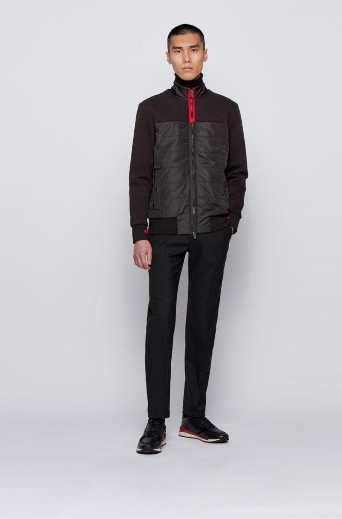 Hybrid zip-through sweatshirt with light padding