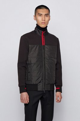 Hybrid zip-through sweatshirt with light padding, Black