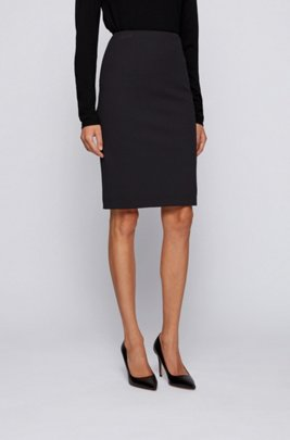 Houndstooth-pattern pencil skirt in stretch jersey, Black