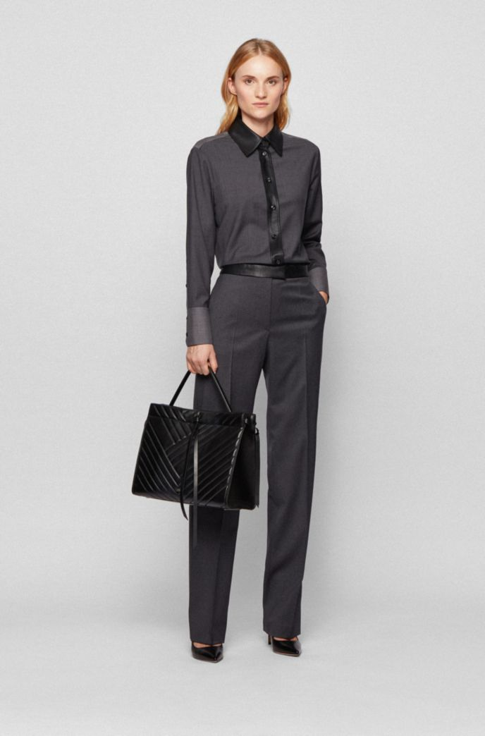 Regular-fit pants with faux-leather waist