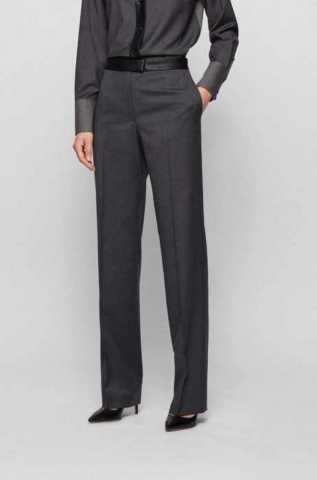 Regular-fit pants with faux-leather waist, Grey