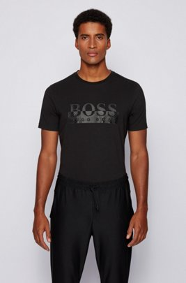 Foil-printed T-shirt in organic stretch cotton, Black