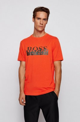 Foil-printed T-shirt in organic stretch cotton, Dark Orange