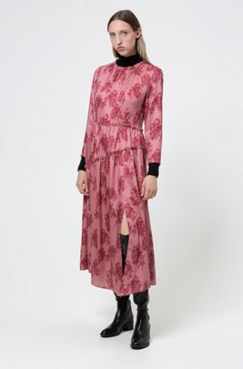 Midi-length frilled dress with collection-themed toile print, Patterned