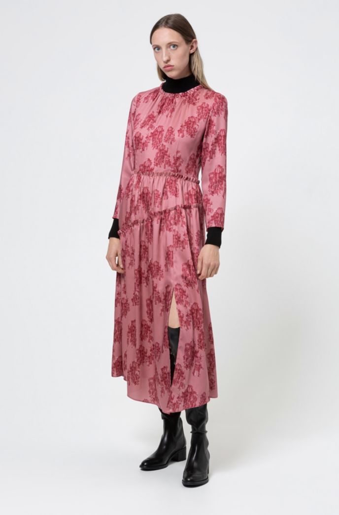 Midi-length frilled dress with collection-themed toile print