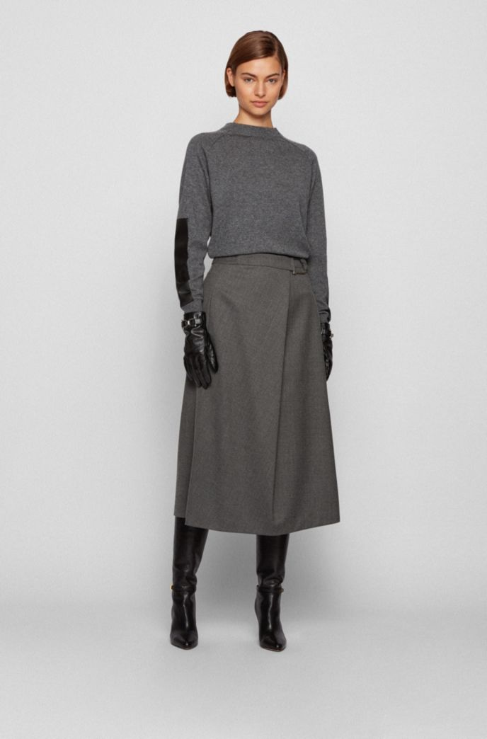 Wool-blend sweater with faux-leather sleeve patches