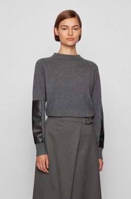 Wool-blend sweater with faux-leather sleeve patches, Grey