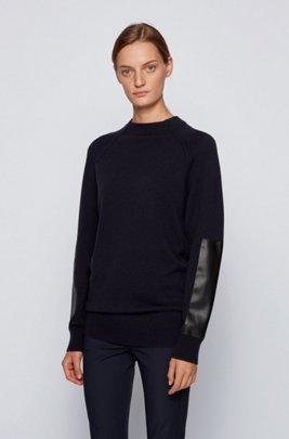 Wool-blend sweater with faux-leather sleeve patches, Light Blue