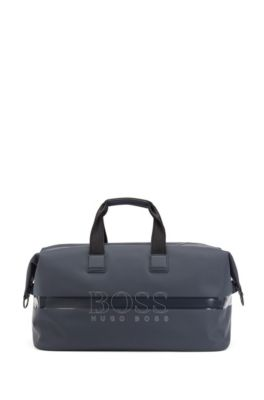 Faux-leather holdall with logo and reflective elements, Dark Blue