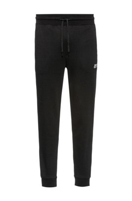 Cuffed jogging pants in cotton with new-season logo, Black