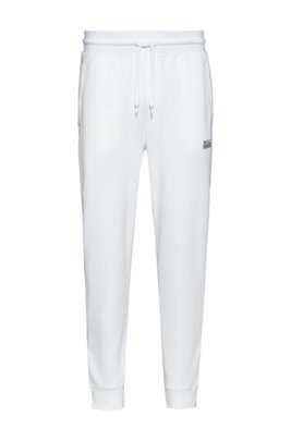 Cuffed jogging pants in cotton with new-season logo, White